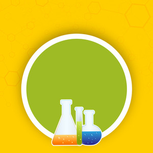 Abstract Medical Concept With Test Tubes On Yellow And Green Background.