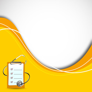 Abstract Medical Diagnostic Letter And Sethescope On Yellow Waves Background.