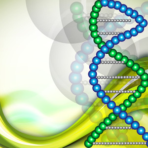 Abstract Medical With Dna Structure On Green Waves Background.