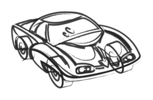 Abstract Modern Sports Car Drawing