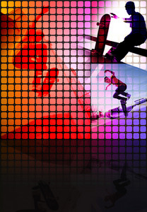Abstract montage of a teenage skateboarder performing stunts with copy space.