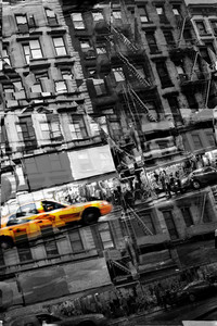 Abstract montage of city life with a yellow taxi cab in selective color.