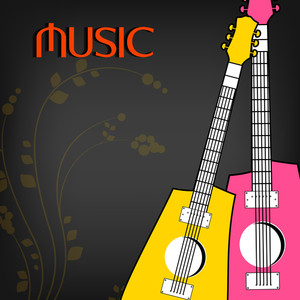 Abstract music background with colorful guitars