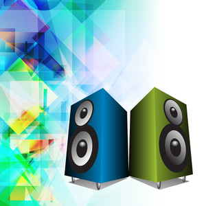 Abstract music background with colorful loud speakers