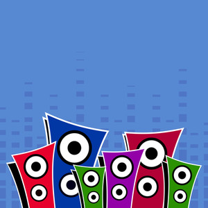 Abstract music background with colorful speakers