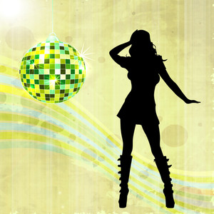 Abstract music background with dancing girl and disco ball