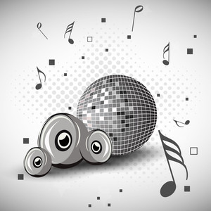 Abstract music background with disco ball