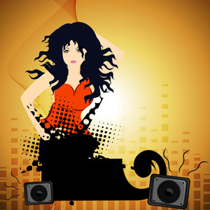 Abstract music background with disco girl and sounds