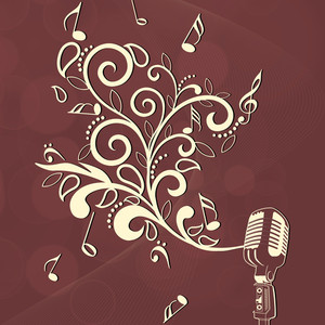 Abstract music background with floral design and mike