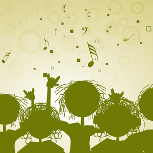 Abstract music background with green silhouette of enjoying people