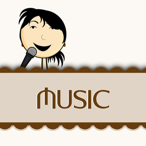 Abstract music background with lady singer and stylish text