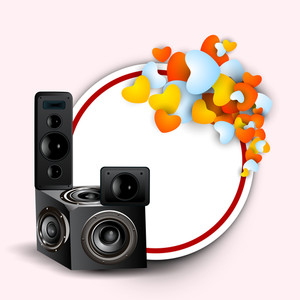 Abstract music background with loud speaker and hearts