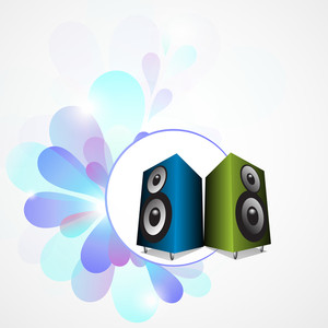 Abstract music background with loud speakers on floral decorated background