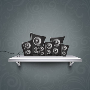 Abstract music background with loud speakers on grey background