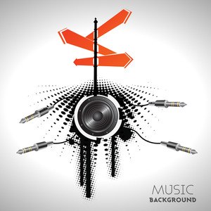 Abstract Music Background With Loudspeakers