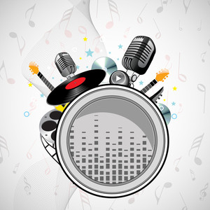 Abstract music background with microphone and musical elements