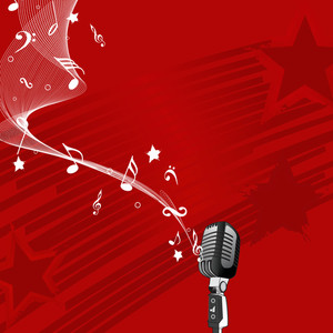 Abstract music background with microphone and musical node on red background