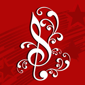 Abstract music background with music symbol and floral design