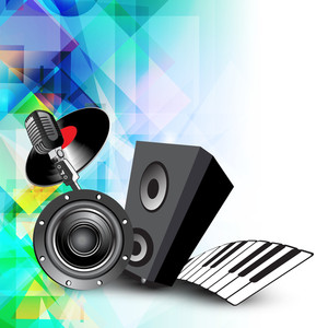 Abstract music background with musical instruments and object