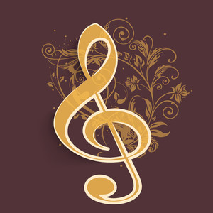 Abstract music background with musical node on floral decorated background
