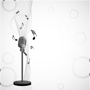 Abstract music background with musical nodes and microphone