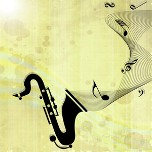 Abstract music background with nodes coming out from saxophone