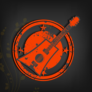 Abstract music background with red guitar on grey background