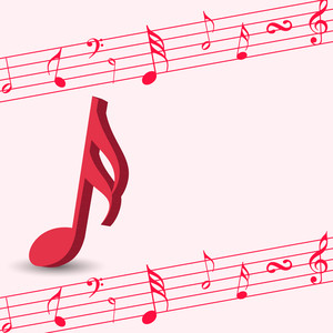 Abstract music background with red musical node
