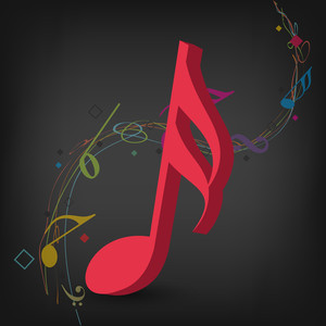 Abstract music background with red node