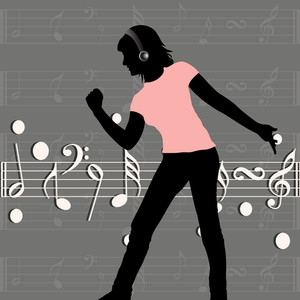 Abstract music background with silhouette of a dancing girl