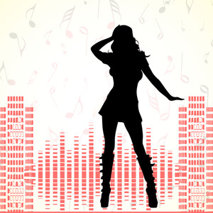 Abstract music background with silhouette of dancing girl and high volumn background