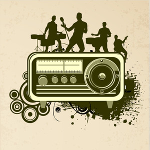 Abstract music background with silhouette of musical band and vintage radio