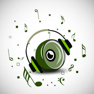 Abstract music background with sound and headphone