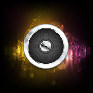Abstract Music Background With Speaker And Musical Notes