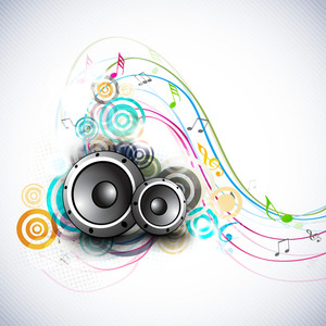 Abstract music background with speakers and dancing musical notes