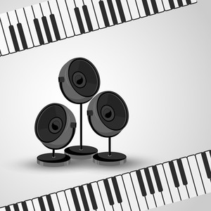 Abstract music background with speakers and keyboard
