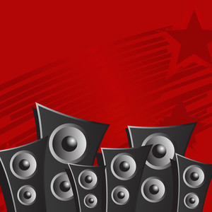 Abstract music background with speakers on red background