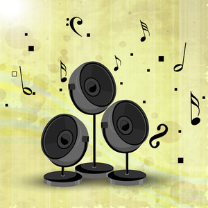 Abstract music background with speakers on vintage green background