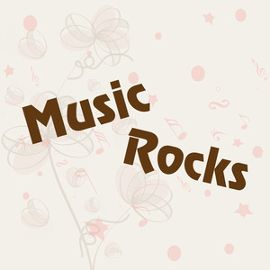Abstract music background with stylish text music rocks