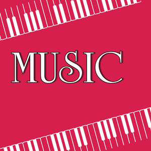 Abstract music background with stylish text on pink background