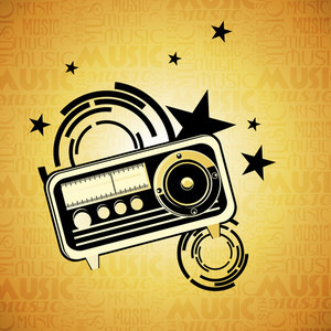 Abstract music background with vintage radio
