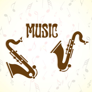 Abstract music background with vintage saxophone