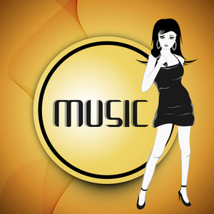 Abstract music background with young beautiful lady singer
