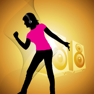 Abstract music background with young dancing girl silhouette
