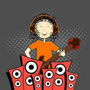 Abstract music background with young singer and loud speakers