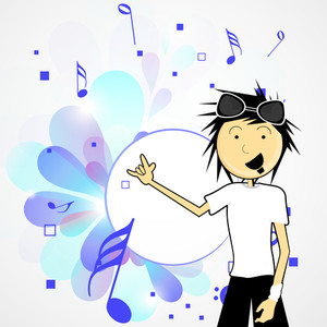 Abstract music background with young singer on floral decorated background