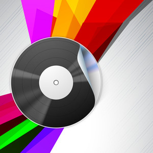 Abstract music concept with CD on colorful background