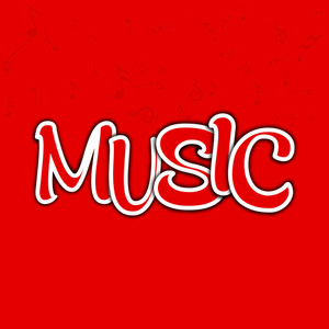 Abstract Music Text On Red Background