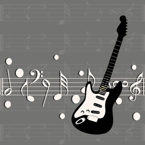 Abstract music with guitar and musical nodes on grey background