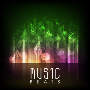 Abstract musical background with colorful musical beats